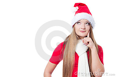 Christmas woman thinking
