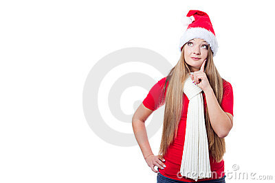 Christmas woman thinking