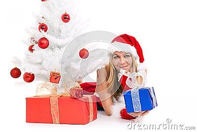 Christmas woman and tree