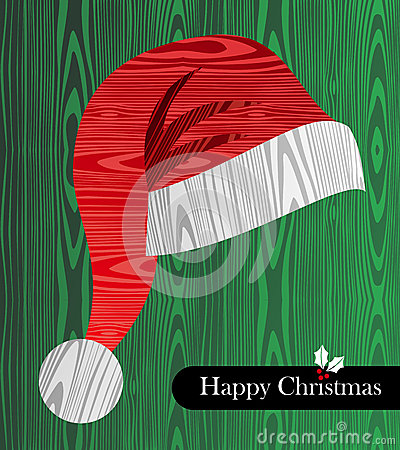 Christmas wooden textured Santa hat shape card