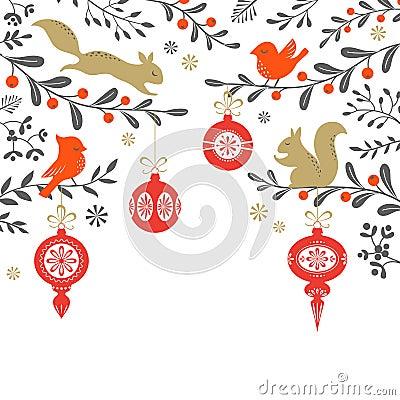 Free Christmas Woodland Background Stock Images - 61433994
