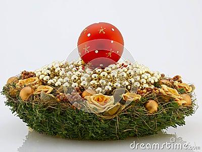 Christmas wreath and balls