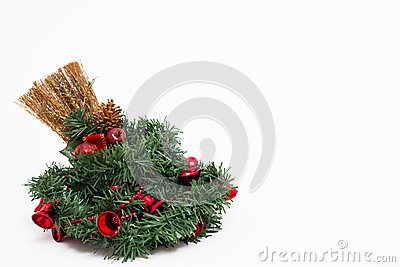 Christmas wreath and a broom decorated
