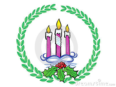 Christmas Wreath with Candles vector