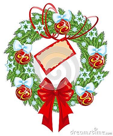 Christmas wreath with card