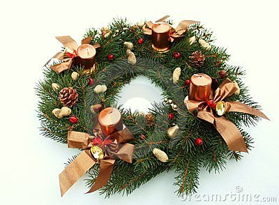 Christmas wreath decoration with candles