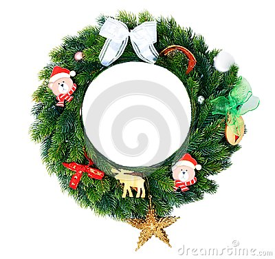 Christmas wreath with decorations isolated. Stock Photo