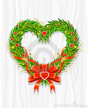 Christmas wreath in form of heart