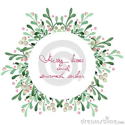 christmas wreath frame of watercolor mistletoe stock