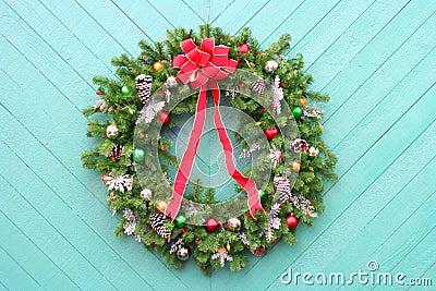 Christmas Wreath on green