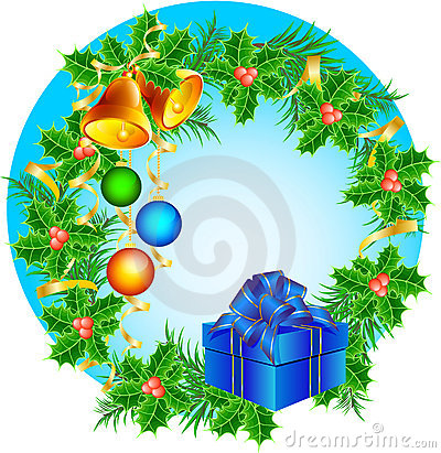 Christmas wreath with hand bells, Christmas-tree d