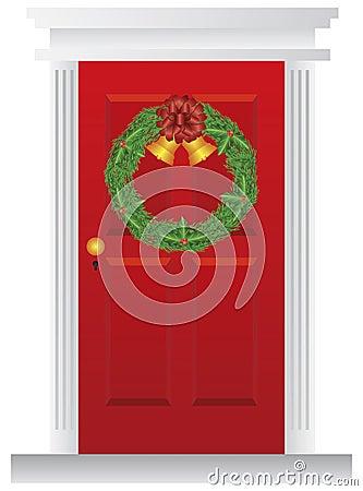 Christmas Wreath Hanging on Red Door Illustration