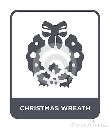 christmas wreath icon in trendy design style. christmas wreath icon isolated on white background. christmas wreath vector icon Vector Illustration