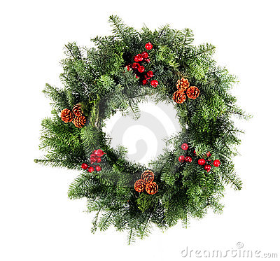 Free Christmas Wreath Isolated Stock Photos - 22405453