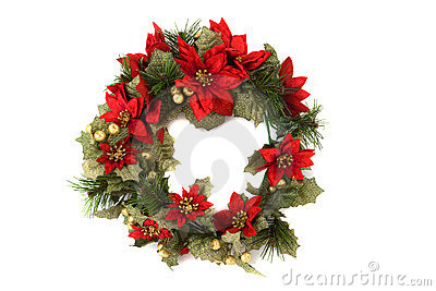 Christmas wreath on isolated background