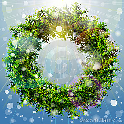 Christmas wreath with overhead lighting and snowfa