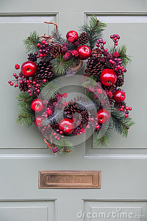 Christmas Wreath on a Pale Green Door