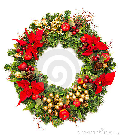 Christmas wreath with poinsettia flowers