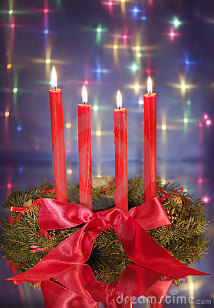 Christmas wreath with red candles