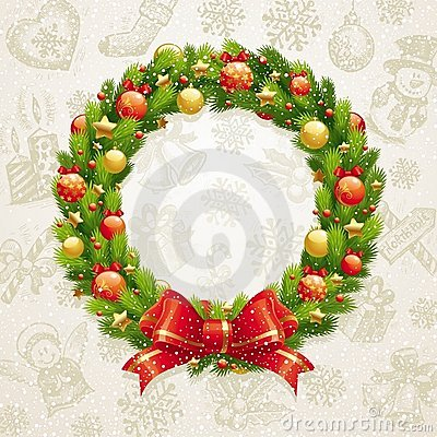 Free Christmas Wreath With Bow & Baubles Stock Image - 16967161