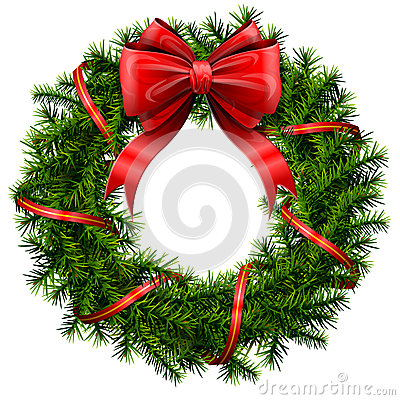Free Christmas Wreath With Red Bow And Ribbon Royalty Free Stock Image - 33383966
