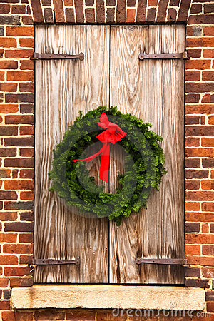 Christmas Wreath, Wooden Shutters, Red Brick Wall