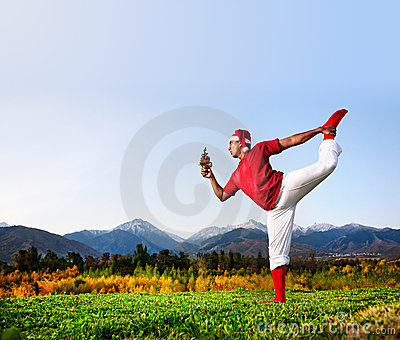 Christmas yoga dancer pose