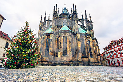 Christmass tree and St. Vitus cathedral in Prague Castle