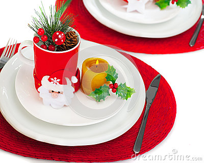 Christmastime Table Setting Stock Images - Image: 27848444
