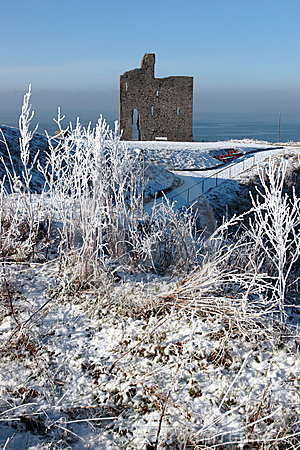 Christmasy view of ballybunion castle ruin and sea