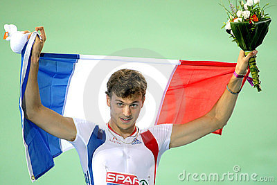 Christophe Lemaitre celebrates victory Editorial Photo