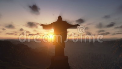 Christus Redemeer bij Zonsondergang, Rio de Janeiro, sluit omhoog, overhelt, voorraadlengte