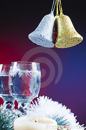 Free Chritmas Bells And Glasses Royalty Free Stock Photos - 7384448