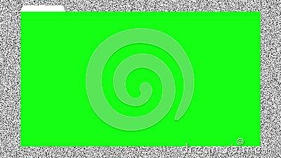 Chromakey groene browser venster, klaar voor post-productie, op geanimeerde achtergrond met oud tv lawaai Naadloze lus 4.000 royalty-vrije illustratie