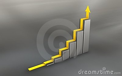 Chrome 3d graph with yellow arrow