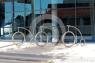 Chrome Bicycle Racks Outside Bunbury City Library