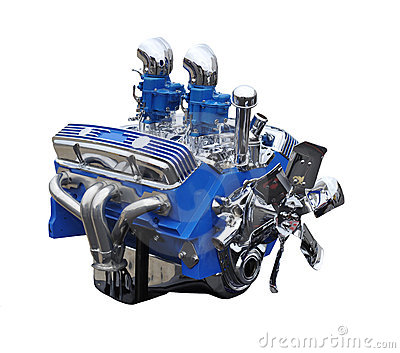 Chrome and Blue V8 Classic Car Engine