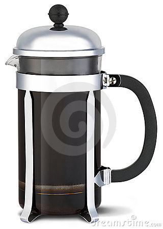 Chrome cafetiere coffee jug on a white background