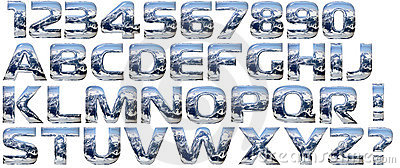 Chrome cast alphabet set, isolated on white.