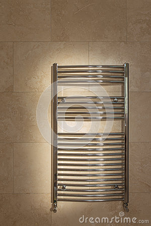 Free Chrome Curved Towel Radiator Stock Photography - 43171592