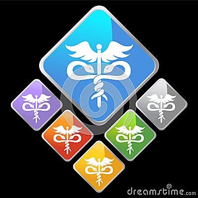 Chrome Diamond Icons - Caduceus