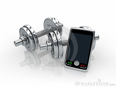 Chrome dumbbells with smartphone