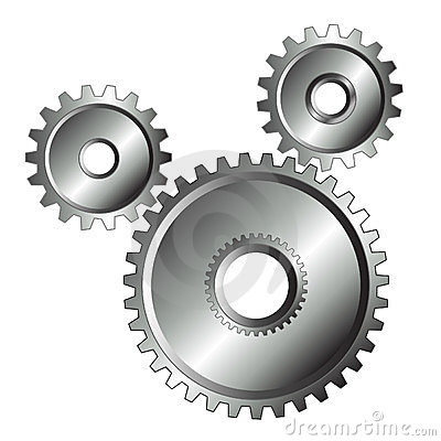 Chrome gears isolated design