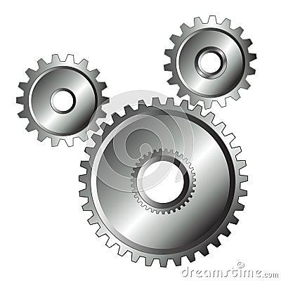 Chrome gears isolated design