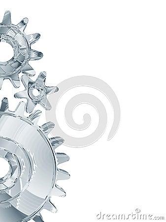 Chrome gears on white