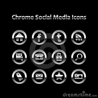 Chrome Glowing Social Media Icons