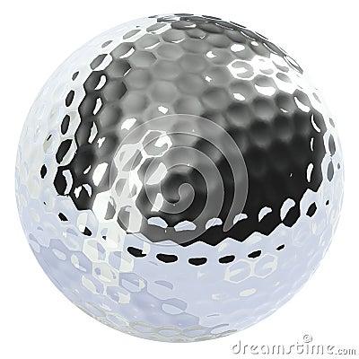 Chrome golf ball isolated