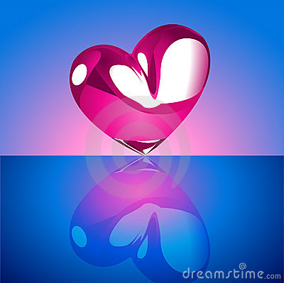 Free Chrome Heart On Blue Background Royalty Free Stock Images - 12421879