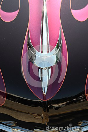 Chrome hood ornament on a customized  roadster