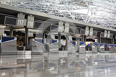 Chrome interior elements in airport terminal